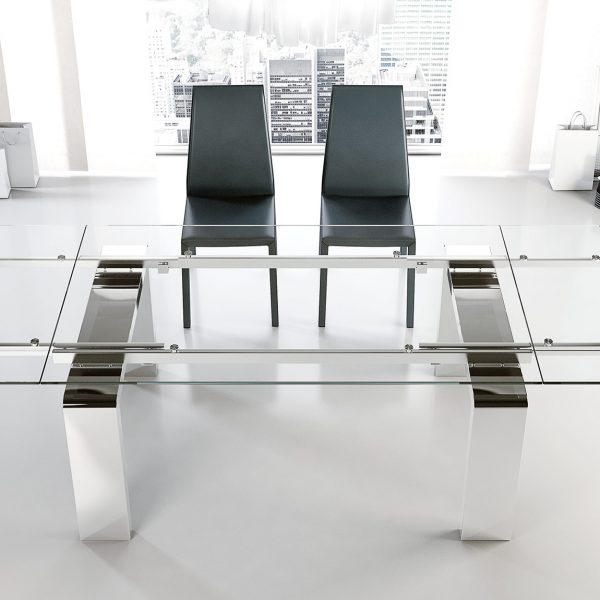 Tavolo in cristallo e acciaio Mito - Meroni Arreda
