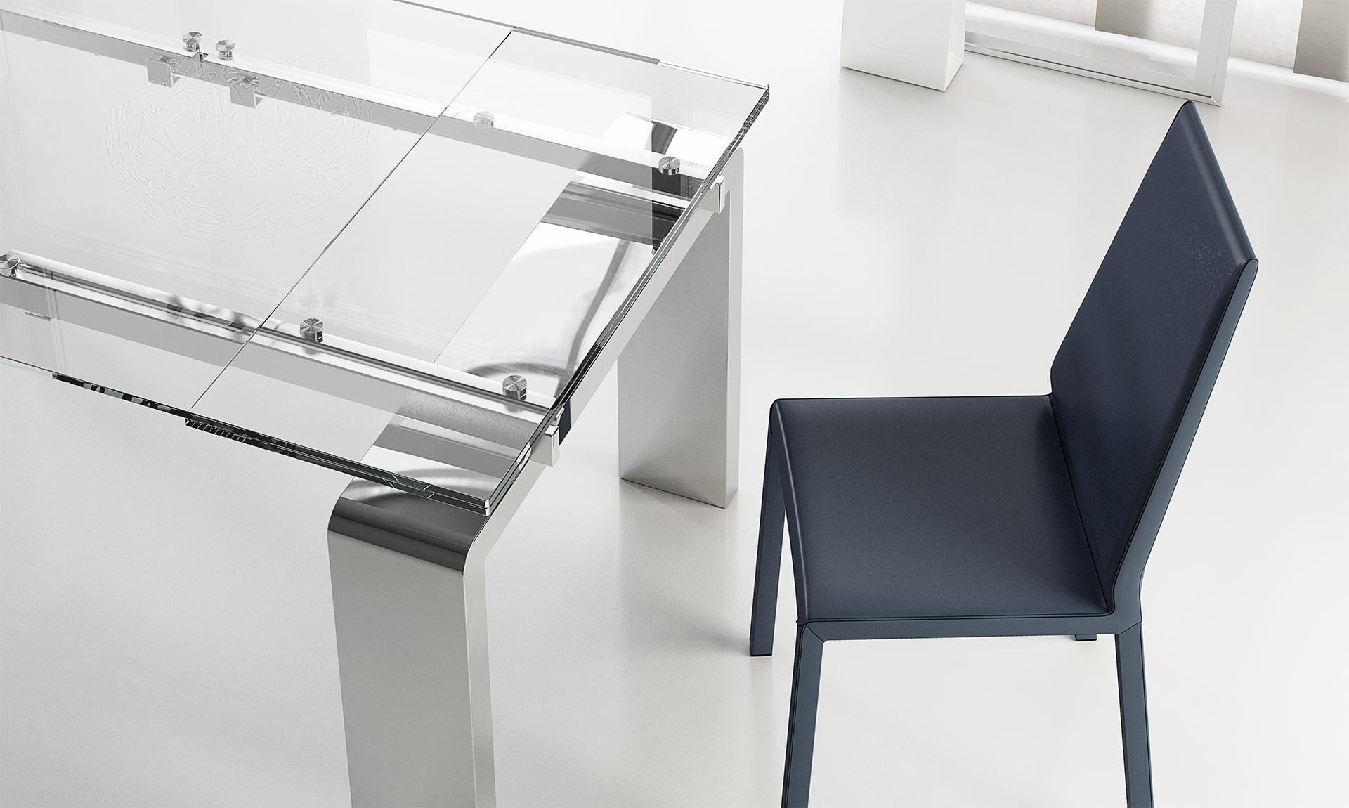 Tavolo in cristallo e acciaio mito meroni arreda for Tavoli in cristallo e acciaio