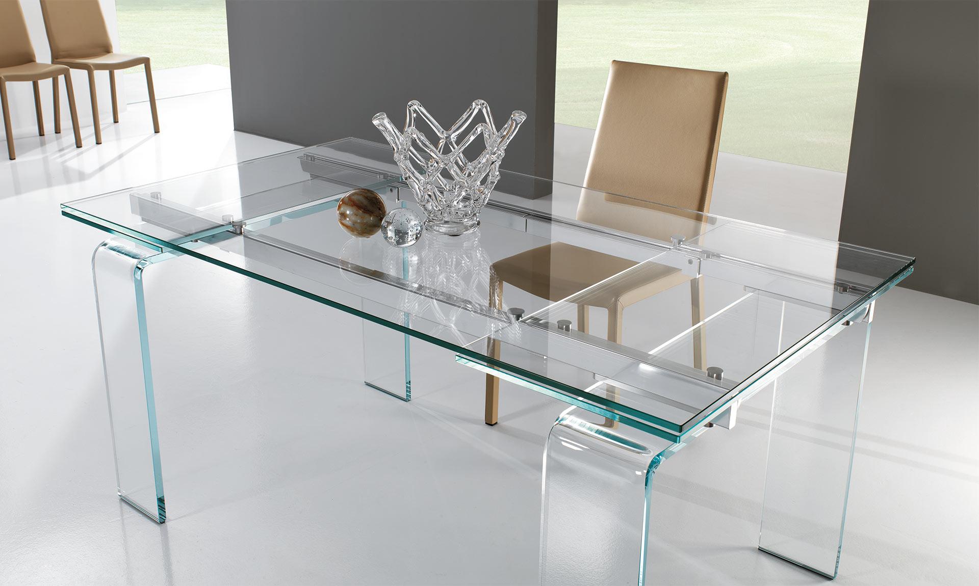 Tavolo in cristallo plano meroni arreda for Riflessi tavoli e sedie