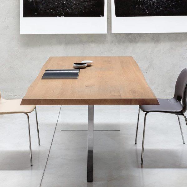Tavolo di design Cubric in legno, acciaio e cristallo - Meroni Arreda