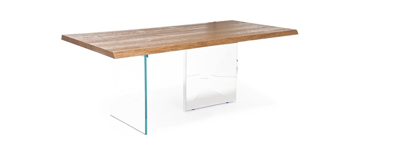Tavolo di design cubric in legno acciaio e cristallo for Tavoli in cristallo e acciaio