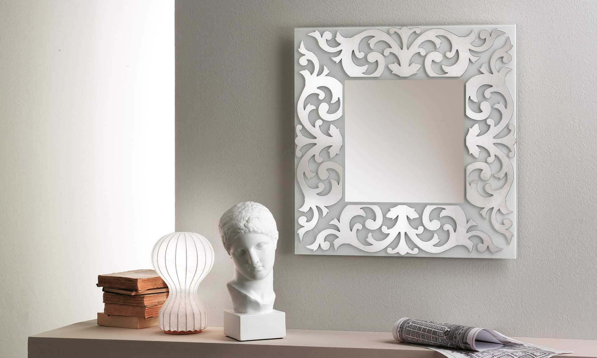 Specchio con cornice in vetro retr meroni arreda for Espejo maison du monde