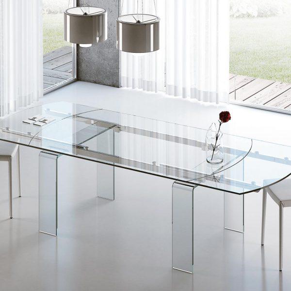 Tavolo ovale allungabile in vetro Lord - Meroni Arreda