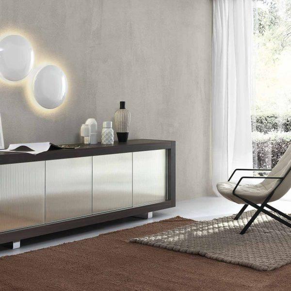 Mobile da soggiorno Picasso P12 Ante a specchio sagomato - Meroni Arreda