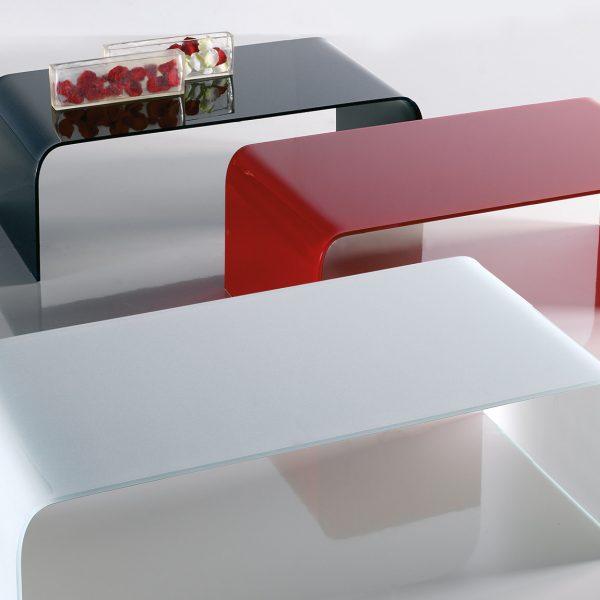 Tavolino curvato Randa in cristallo - Riflessi | Meroni Arreda